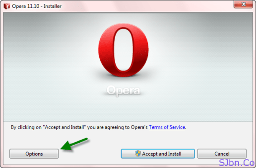 Opera - Installation Options button