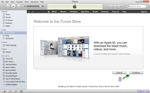 Welcome to the iTunes Store - Continue button