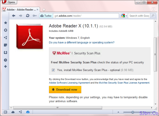 Get McAfee Security Scan Plus With Adobe Reader In Opera