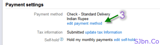 Payment settings - edit payment method