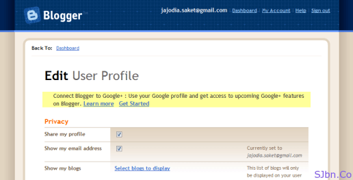 Edit User Profile - Connect Blogger to Google+
