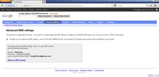 Google Apps - Advanced DNS settings bug