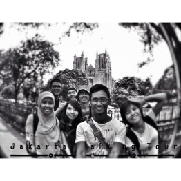 One of the best group-fie ever taken. The trees, the sidewalk, the great cathedral, and us...perfect!