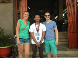 Martijn & Anouk with our guide in front of the Jakarta's old station, Kota.