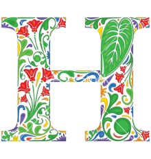 Colorful floral initial capital letter H