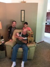 Four Generations: Fred, Scott, Jake, and Wilder Fahlsing. Can't forget Lincoln too (who jumped up on his own!)