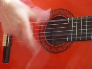 flamenco red guitar from Jerez