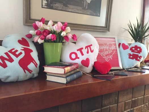 Conversation heart pillows: We heart blaster, QT Pi, and I heart robots