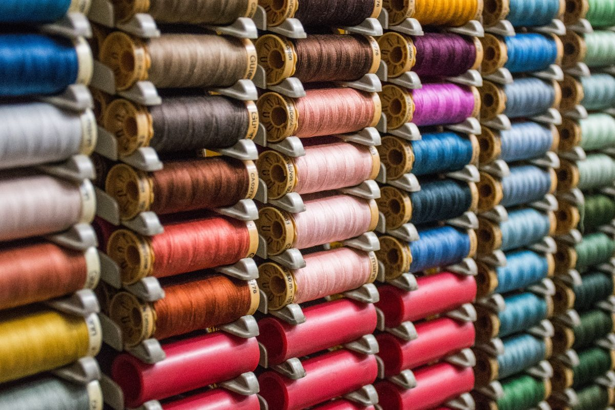 Rows of colorful thread