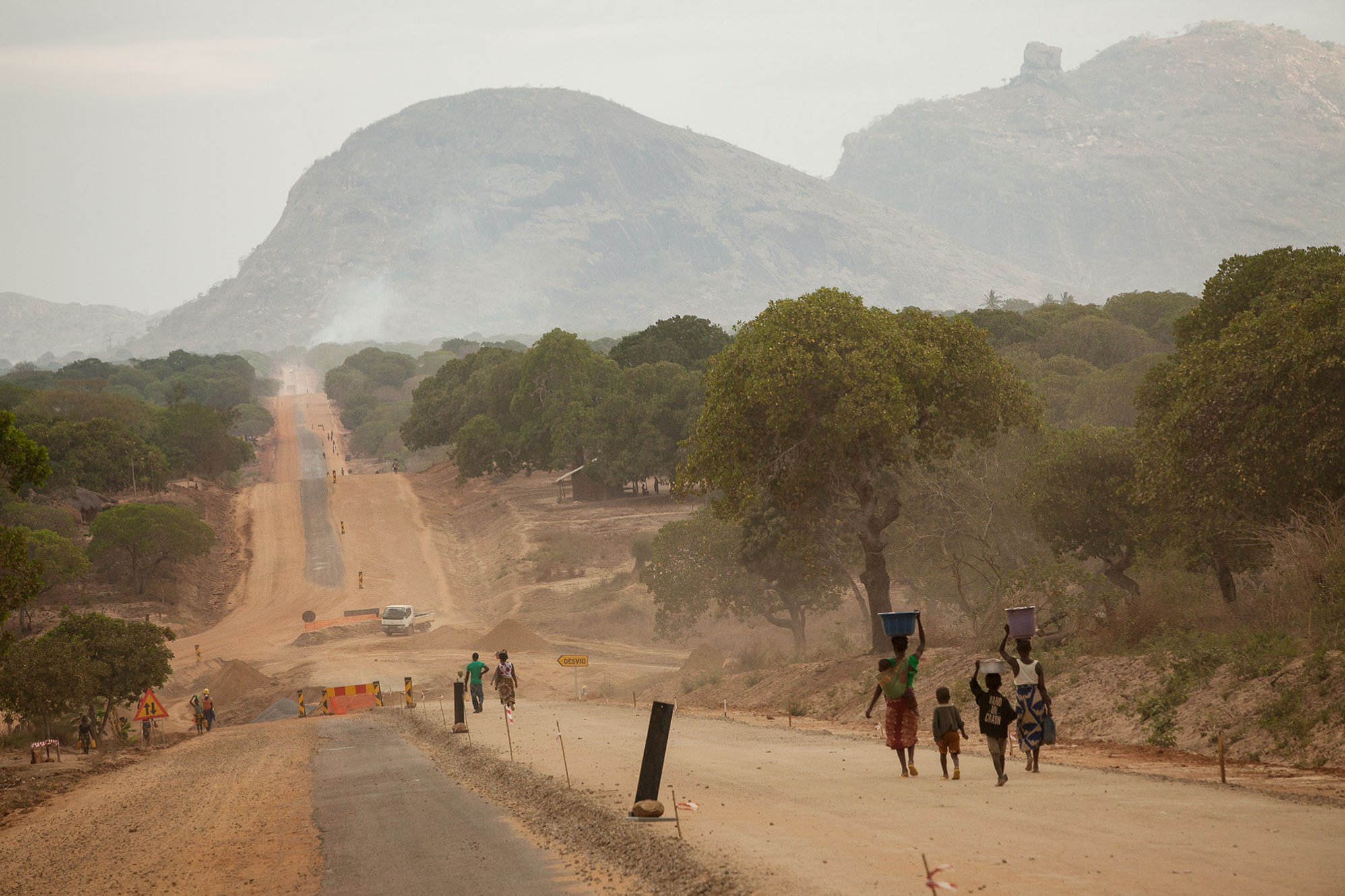 A new road is forged through the wilderness of northern Mozambique.