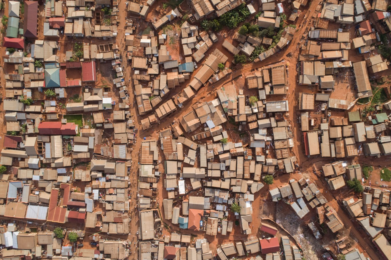 Aerial view of slum communities in Kampala, Uganda.