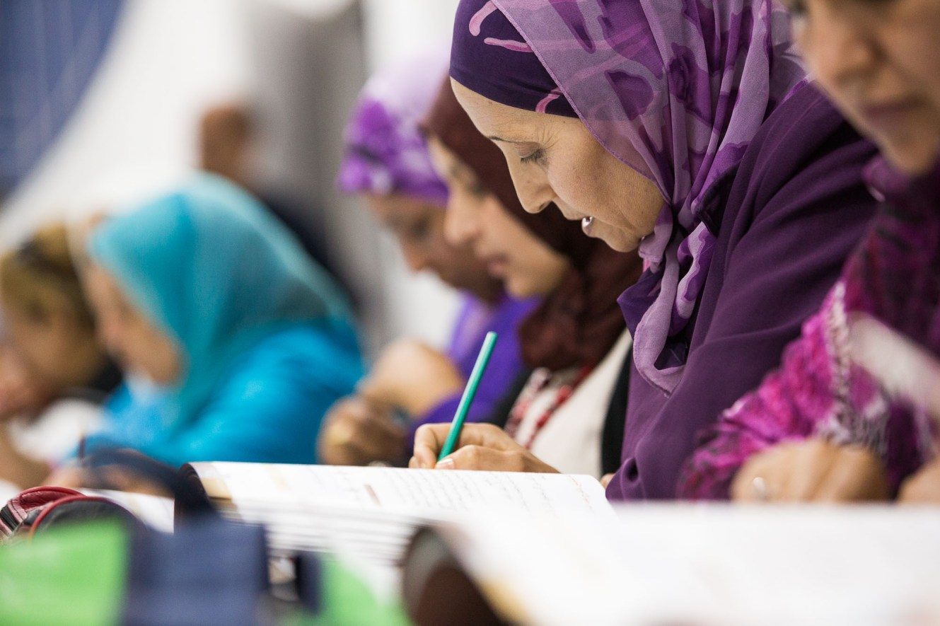 Women attend a functional literacy course in Agadir, Morocco.