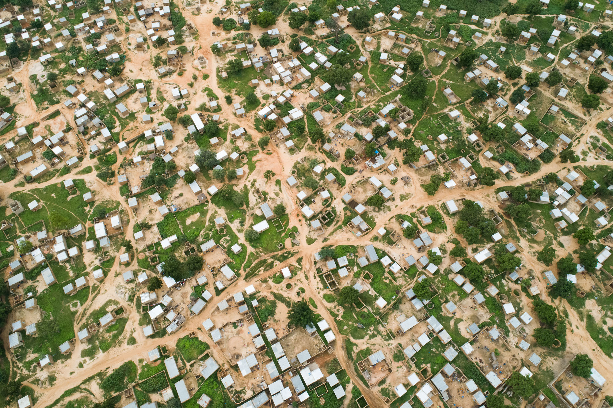 Rooftops are seen from a bird's eye view in Fada N'gourma, Burkina Faso.