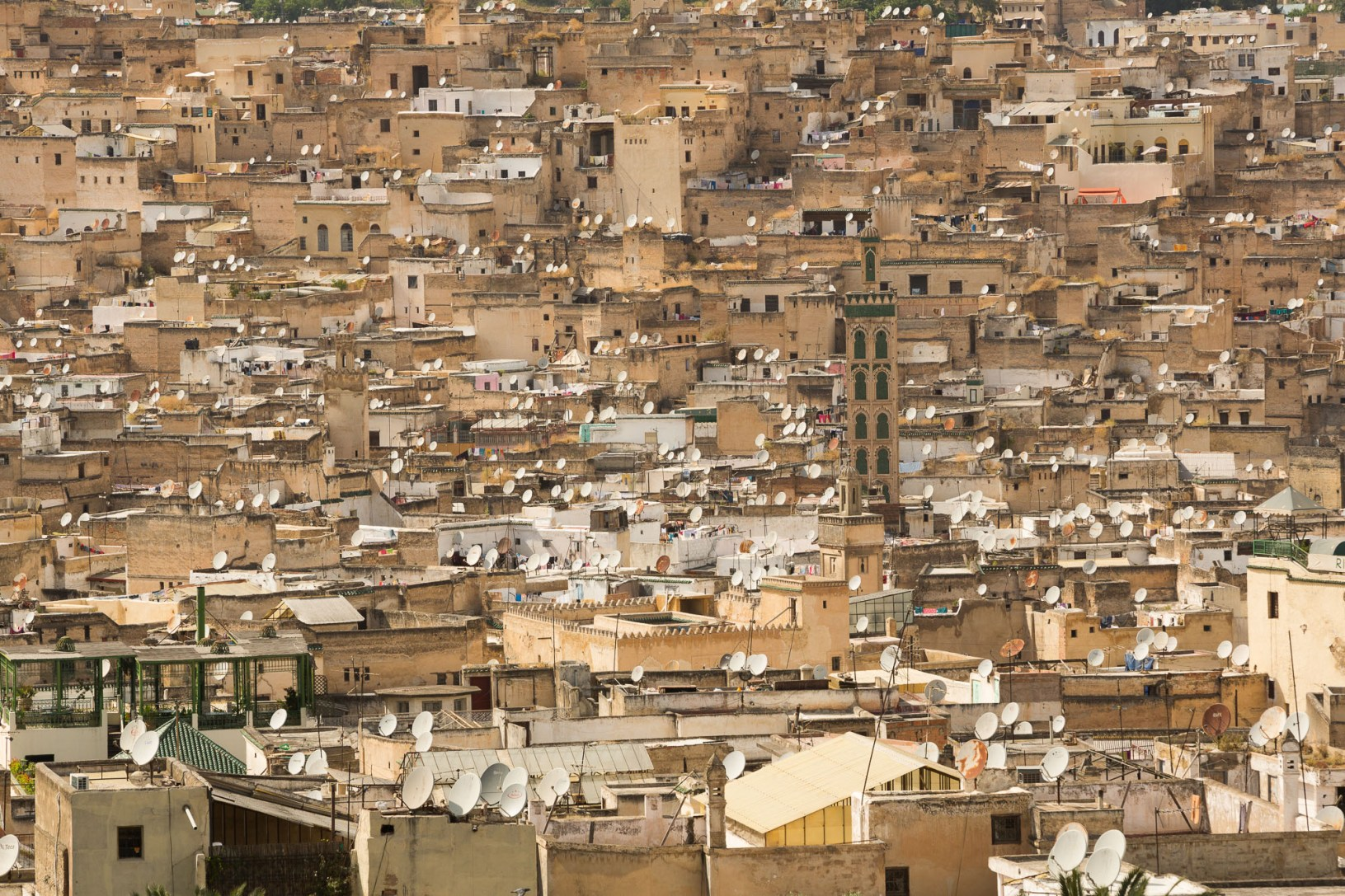 Satellite dishes dot rooftops in the old Medina of Fez, Morocco.