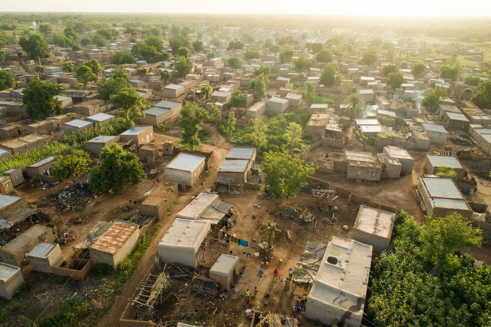 Aerial view of a village in Mouhoun Province, Burkina Faso.