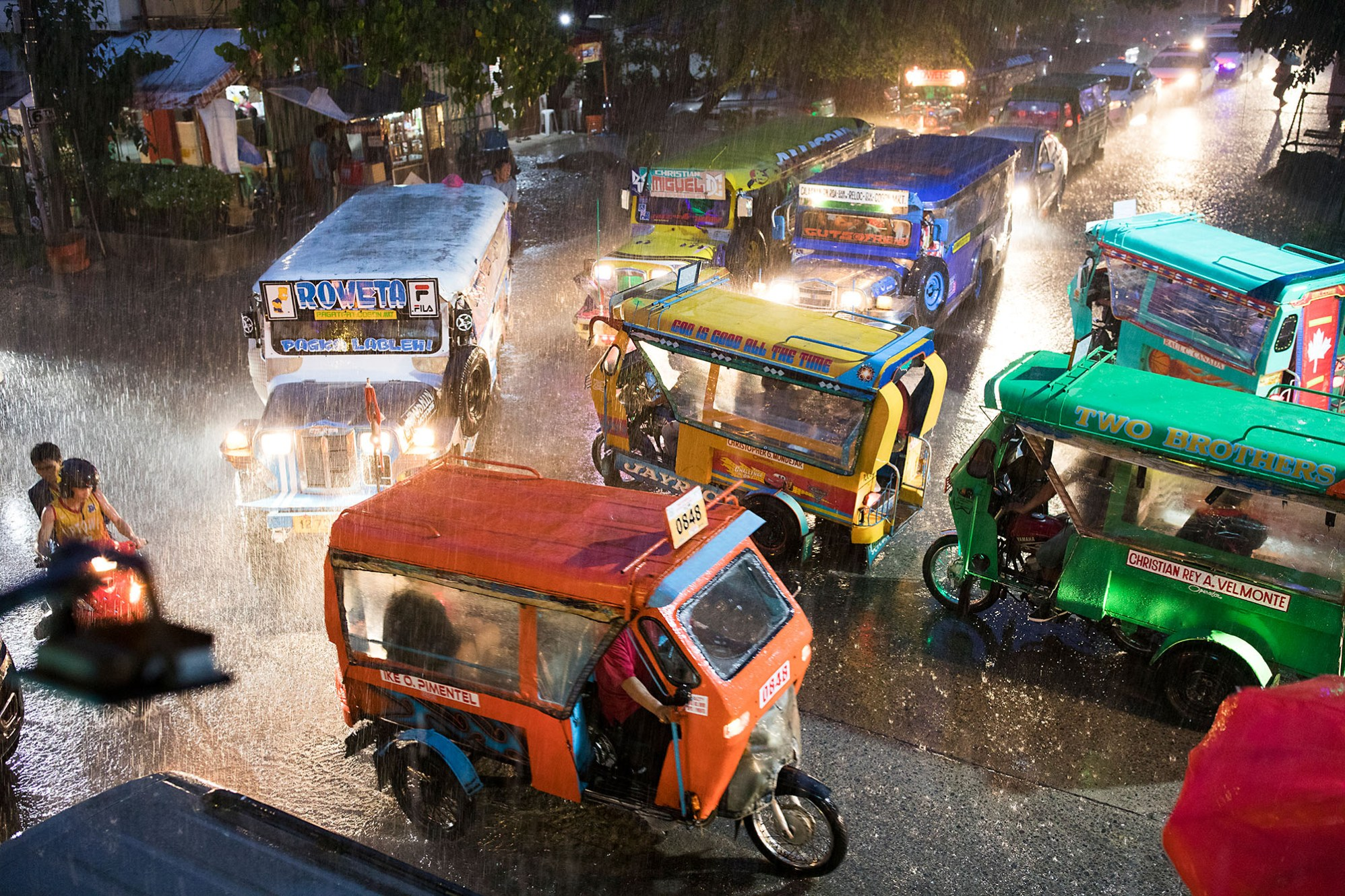 Seasonal monsoon rains bring heavy traffic and flooding in Cagayan de Oro, Philippines.