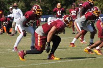 Linebacker Ryan Kerrigan prepares to rush the passer. Photo by Jake Russell.