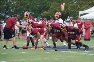The Redskins special teams sets up for punt protection. (Photo by Jake Russell)