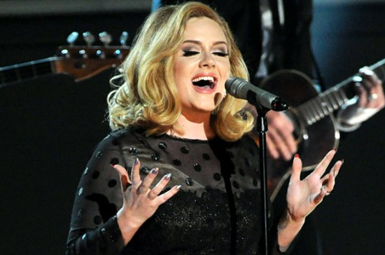 "Adele's powerful performance of ""Rolling in the Deep"" was the true highlight of the 2012 Grammys. (Photo property of Getty images)"