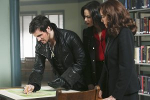 Could Regina (sandwiched in between Hook and Cora) be able to regain the progress that she made earlier this season in becoming a good person. (Photo by ABC's Jack Rowand)
