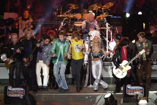 An all-star supergroup rocked the 35th Super Bowl. Among the performers in this group included Aerosmith, *NSYNC, Britney Spears, Mary J. Blige and Nelly. (Photo property of Getty Images)
