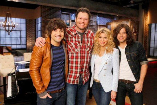"The three-time winning ""Voice"" coach called on the Band Perry to assist him with the Battle Rounds. (Photo courtesy of NBC)"