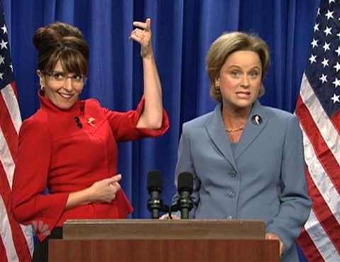 Tina Fey and Amy Poehler perfectly portrayed Sarah Palin and Hillary Clinton during the height of the Decision 2008 campaign. (Photo property of NBC, Broadway Video & SNL Studios)