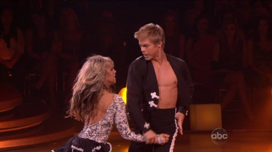 Chelsie and Derek Hough's electrifying Paso Doble received an Emmy nomination in 2010. (Photo property of BBC Worldwide and ABC)