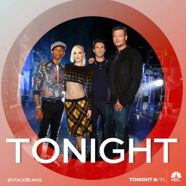 """Pharrell, Gwen, Adam and Blake targeted artists to join their teams during night four of """"The Voice: Season Nine"""" Blind Auditions. (Photo & graphic property of NBC & United Artists Media Group)"""