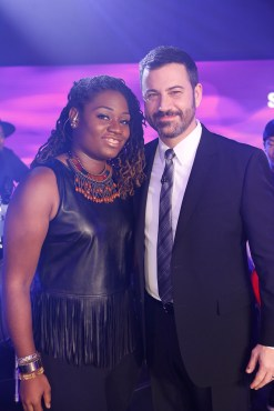 Lanita Smith posed with Jimmy Kimmel after she sang on his ABC late night show. (Photo property & courtesy of Wise Owl Media Group)