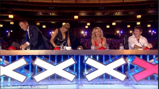 "This is the reaction that I get every time Nick Hagelin performs on ""The Voice."" BTW, I love the ""Britain's Got Talent"" judges: David Walliams, Alesha Dixon, Amanda Holden & Simon Cowell. (Photo property of iTV)"