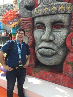 Posing with Olmec at the Nickelodeon booth. (Photo property of Jake's Take)