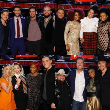 """The Voice: Season 11"" coaches pose together with their artists after the Top 12 performances. (Photos property of NBC & MGM TV)"