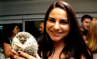 """Meet Brianna Stiklickas and her hedgehog, Eugene. Brianna was chosen as one of two student companies sponsored for the evening. Brianna is a student at Babson College, and is Founder and CEO of Meet Eugene, Inc. """"Meet Eugene is an exotic pet food company with a focus on hedgehog food."""" she says."""