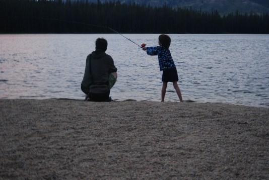 fishing, girl, lake
