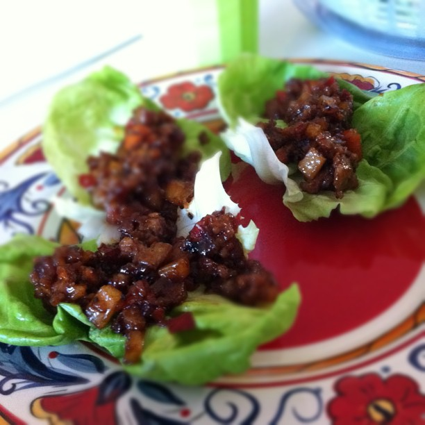 Chinese tacos! (lettuce wraps) for dinner at the Spurlocks tonight.