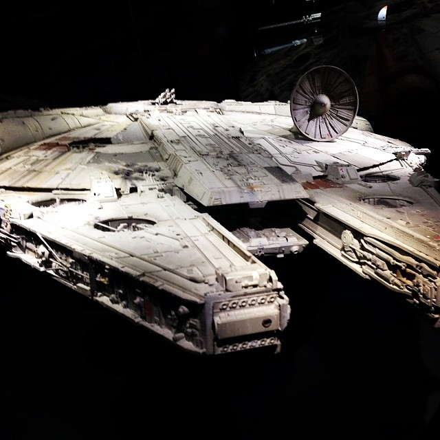 The Millennium Falcon. This was the big one, over six feet long. The detail work was amazing. #starwars