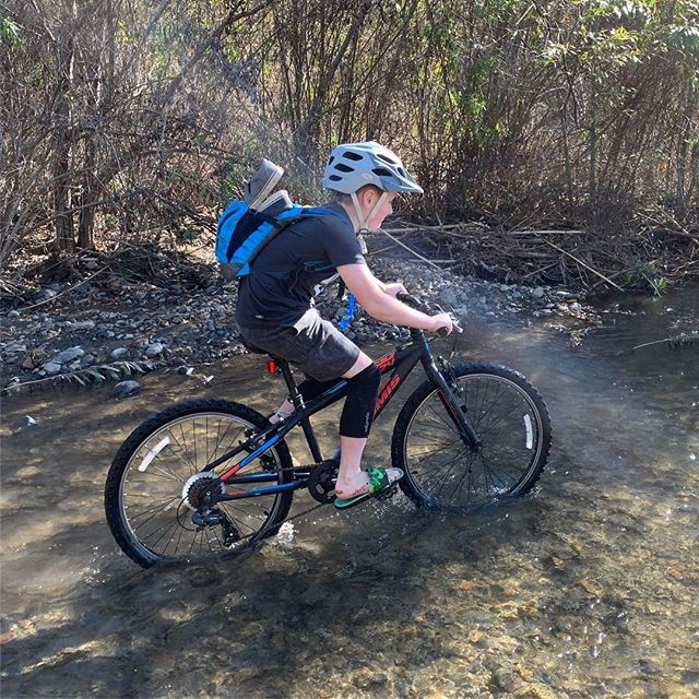 At one point, the trail ended and we had to pedal down a creek/river for a while...