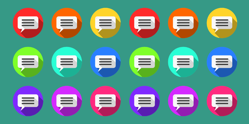 Different coloured speech bubbles in 3 rows.