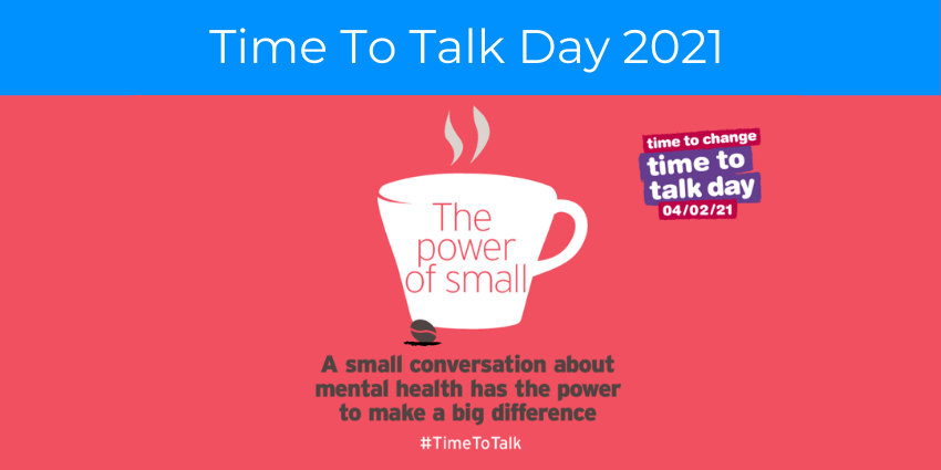 "White coffee cup silhouette on pastel red background with Time to Change's Logo and text reading ""A small conversation about mental health has the power to make a big difference. #TimeToTalk."""
