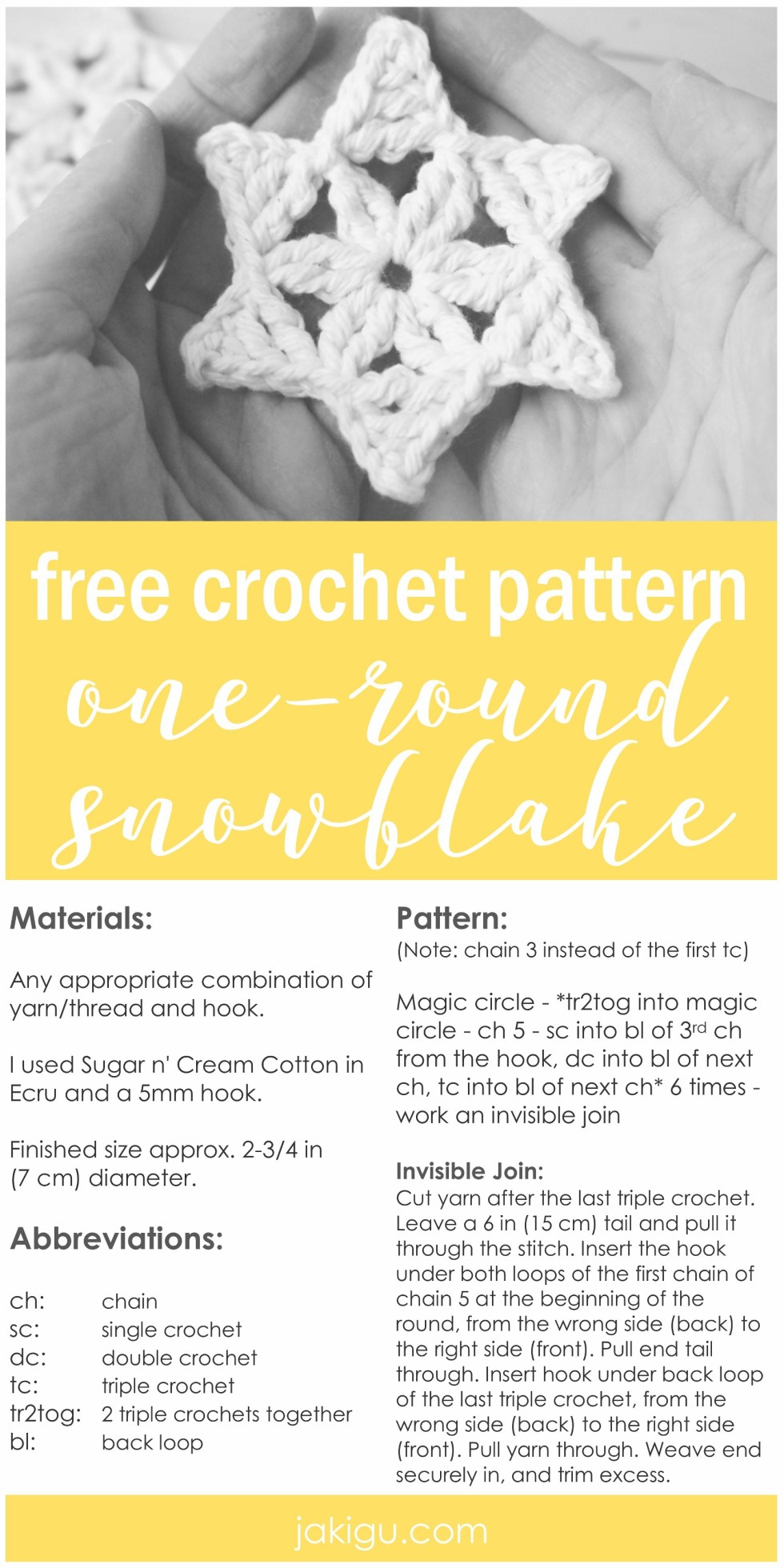 One-round crochet snowflake. Quick and easy holiday decor project. Ornaments, garlands, gift tags!