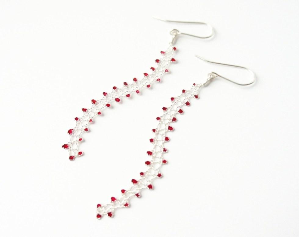 Sterling Silver Wire Bobbin Lace Earrings, Original Design by JaKiGu