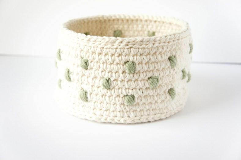Polka Dot Crochet Basket by JaKiGu