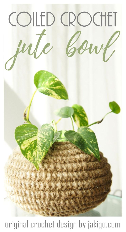 Coiled Crochet Basket - Jute Bowl