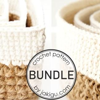 Crochet Pattern Bundle by jakigu.com   Jute and Cotton Stacking Baskets