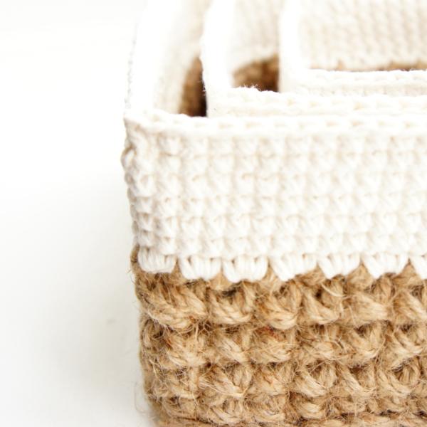 Square Jute and Cotton Baskets | | jakigu.com crochet pattern
