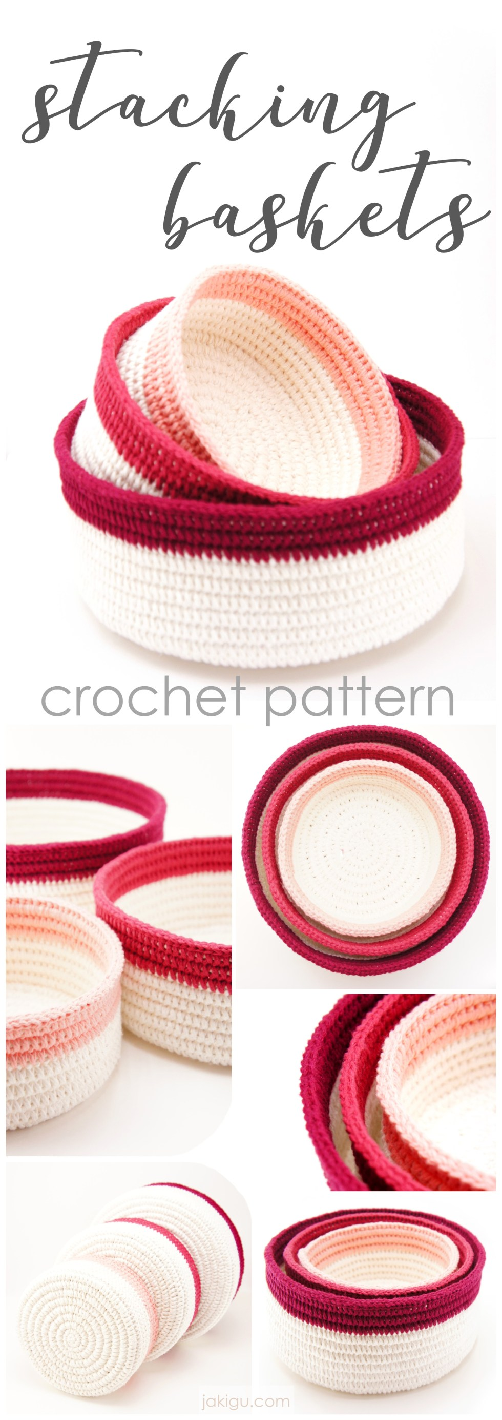 Stacking bowls - an original coiled crochet pattern by jakigu.com
