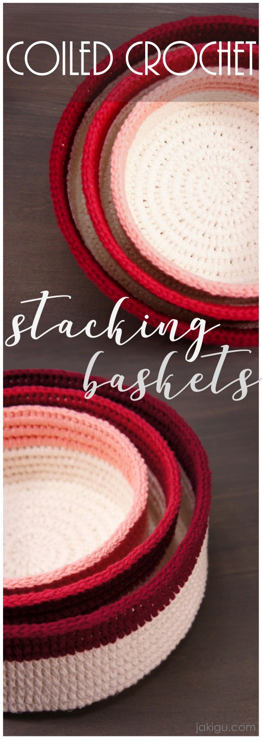 Coiled Crochet Stacking Baskets or Shallow Bowls, a PDF Pattern by JaKiGu