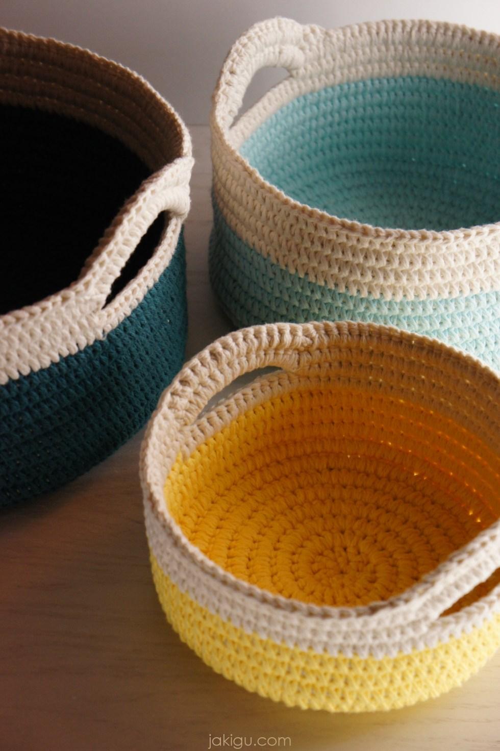 Sturdy crochet baskets with handles - a nesting set