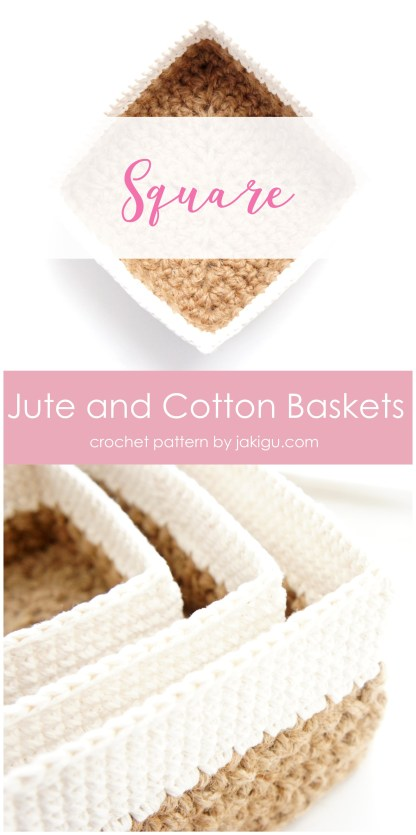 Crocheting with jute - square stacking baskets, crochet pattern by jakigu.com